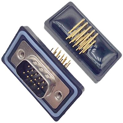 D-HDD0R15PF-A000HDDR-15P 母头 三排 铆钉 弯插板 黑胶芯 防水车针