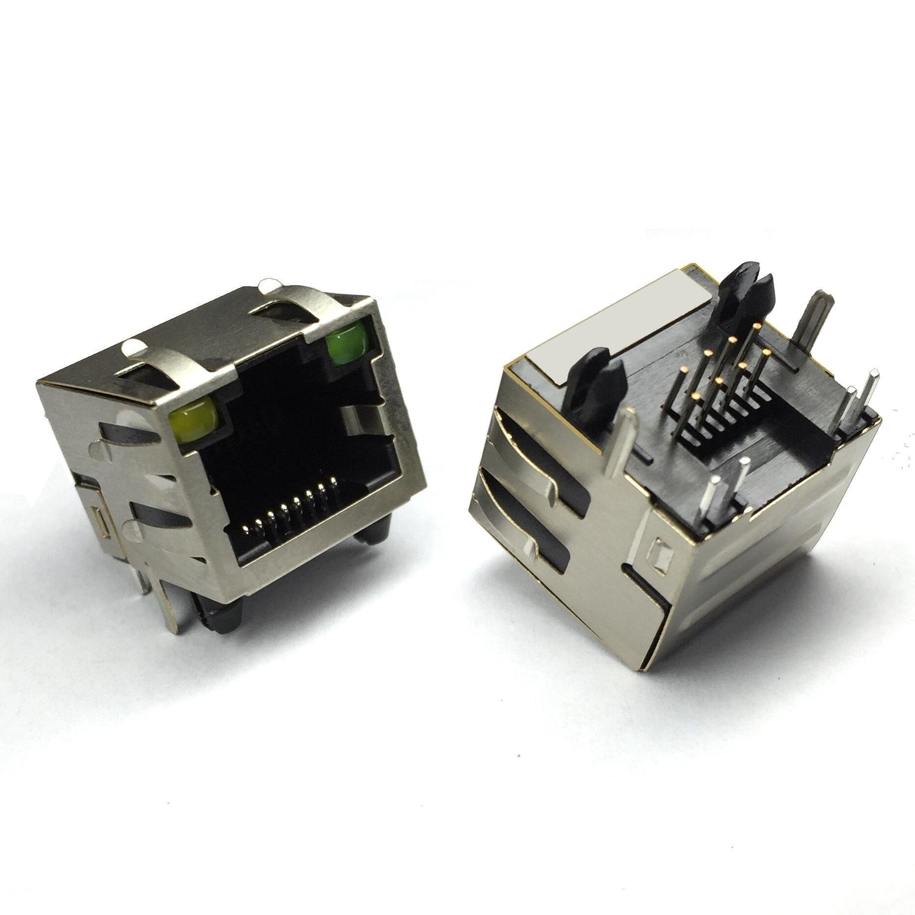RJ458P/8C 带灯 带弹片(R-RJ45R08P-C004)